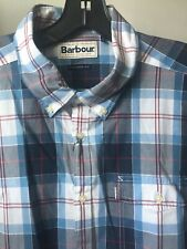 BARBOUR Cabin Checker Long Sleeve Shirt Mid Blue size: Large