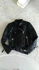 zara real leather jacket black biker BNWT size L would fit M UK 10 / 12