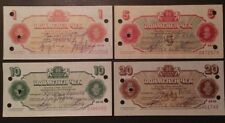 BULGARIA 1986, BULGARIAN NATIONAL BANK, PERSONAL CHEQUES, 1,5,10,20 LV. USED