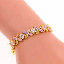 White Pink Topaz Yellow Gold Filled Women Jewelry Gemstone Chain Bracelet LS055