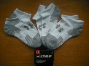 Boys NWT UNDER ARMOUR No-Show Socks 3prs White Gray Arch Support SOFT Ages 8-11