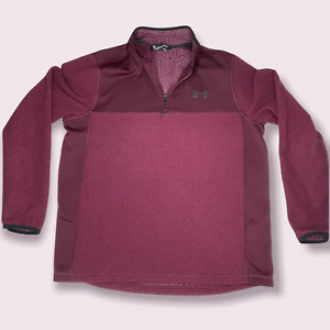 Under Armour - Men's Size Large Loose Coldgear 1/4 Zip Pullover - Maroon Winter