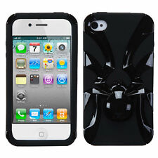 For iPhone 4 4S Widow Spider Hybrid Rubber Silicone Case Phone Cover Black