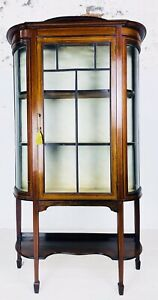 ANTIQUE EDWARDIAN INLAID CABINET DISPLAY CABINET MAHOGANY CURVED INLAID