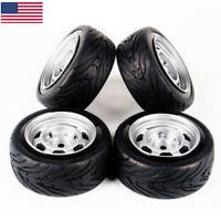 RC 4PCS Rubber Tires&Wheel Rims For HSP HPI  1/10 On-Road Racing Car 6mm Offset