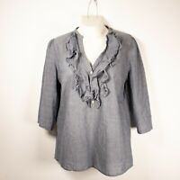 Ann Taylor Loft Women's M 3/4 Sleeve Ruffle Collar V-Neck Blouse Gray