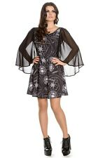 Spin Doctor Hell Bunny Lucille Gothic Occult Geometry Cape Sleeves Mini Dress