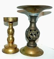 Brass Candlesticks Candle Holders Lot of 2 Pillar Candles Wedding