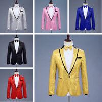 Mens Sequin Suit Jacket Blazer Cabaret Carnival Dance Show Costume Fancy Dress