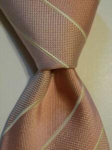 BRIONI Men's 100% Silk XL Necktie ITALY Luxury Designer STRIPED Pink/Ivory EUC