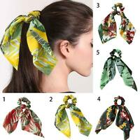FT- Boho Print Ponytail Scarf Bow Elastic Hair Rope Tie Scrunchies Ribbon Hair B