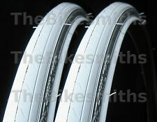 "2 PAK 27 x 1 1/4"" ALL WHITE Road Bike Tires Track Fixed Gear Bicycle Tyre 27"" PR"
