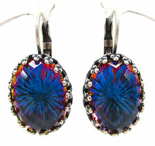 SoHo® Ohrhänger Ohrringe vintage bohemia Glas oval dome heliotrope blau violett