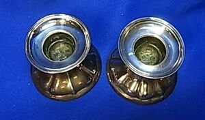 Pair Vintage German 835 Silver Candle Holder #CL