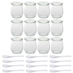 12 Weck Gläser + 12 Porzellan Löffel Vorspeise Dessert Glas Deckel 220ml