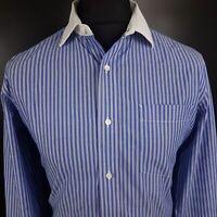 Tommy Hilfiger Mens Dress Shirt 15.5 32/33 MEDIUM Long Sleeve Blue Striped
