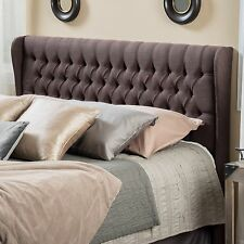Queen to Full Size Bed Wingback Fabric Headboard w/ Button Tufted Accents