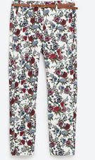 Zara mid-rise floral printed pants with belt-sz 4-NWT