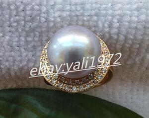 Natural 12-12.5mm Silver Grey South Sea Pearl Ring AAA