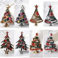 Wholesale 4/8Pcs Vintage Christmas Tree Crystal Brooches Pins Costume Jewellery