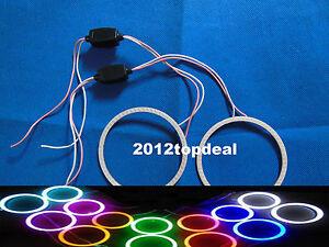 Pair 80mm 93LED Headlight CCFL Angel Eyes COB Bulb Halo Ring Lamp Light 12/24V