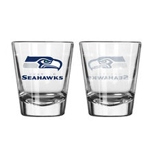 Seattle Seahawks Satin Etch Shot Glass - 2 Pack [NEW] NFL Drink Bar Cup Beer