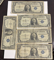 Lots of 5 Circulated 1957 A Blue Seal One Dollar Note $1 Silver Certificates