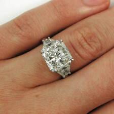 Natural 2.10 ct. Radiant w/ Trapezoid 3-Stone Diamond Engagement Ring EGL E, SI1