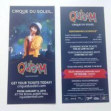 2x flyer / handbill CIRQUE DU SOLEIL QUIDAM Royal Albert Hall 2014
