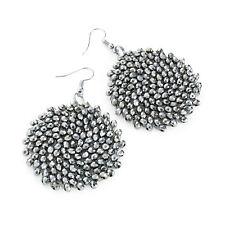 Rhodium Glass Hematite Round Drop Earrings Ladies Fashion Jewellery