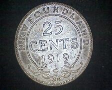 1919-C CANADA NEWFOUNDLAND 25 CENTS KM#17 -92.5% SILVER #13263