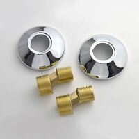 CHROME METAL BATHROOM BAR SHOWER FITTING KIT S-UNION REDUCER CONCEALING PLATES