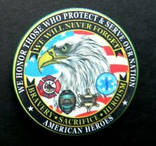 AMERICAN HEROES FIRE EMT POLICE POKER CHIP COIN CHALLENGE COIN 1.75 NEW IN CASE