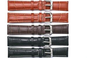 19mm Black or Brown Alligator Grain Leather Replacement Watch Strap Band Unisex