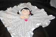 Carters Baby Girl Rattle White Black Dots Security Lovey Satin 15 x 15 Pig Tails