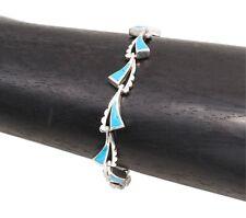Artisan Sterling Silver Turquoise Waves Bracelet