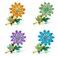 Fashion Crystal Rhinestone Flower Wedding Bouquet Brooch Pin Women Jewelry Gift