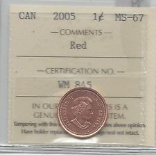 **2005**ICCS Graded Canadian Small One Cent, **MS-67**