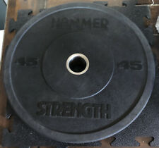 1- 45 lb Hammer Strength Olympic Rubber Bumper Plate Single