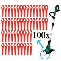 100 Kunststoffmesser Ersatzmesser / Messer /Nylon passt für Akku Rasentrimmer an