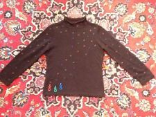 Acorn Black Beaded Snowman Subtle Christmas Sweater S Not Ugly EUC