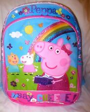 "Peppa Pig + Pals 14"" say Cheese with Rainbow Backpack with Adjustable Straps-New"