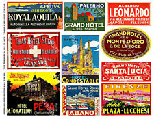 10 LUGGAGE STICKERS, 1 Sheet, Hotel Label REPRODUCTIONS, Suitcase Decal Stickers