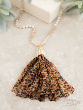 BOUTIQUE LEOPARD PEARL BEADED TASSEL LACE NECKLACE BY SOUTHERN JUNKIE
