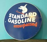 VINTAGE STANDARD GASOLINE PORCELAIN GAS UNSURPASSED SERVICE STATION PUMP SIGN
