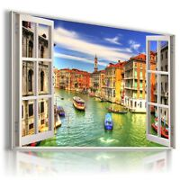 """W338 ITALY 3D PERFECT Window View Canvas Wall Art Picture Large SIZE 30X20"""""""