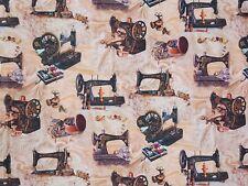 Stoffe Baumwolle Panama Digitaldruck Deko Gardine Vintage Nähmaschine Nr23