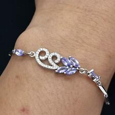 World Class 2.00ctw Tanzanite & Diamond Cut White Sapphire 925 Silver Bracelet