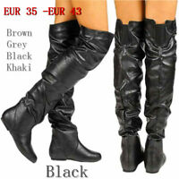 Women Pull On Pleated Over the Knee High Boots Round Toe Flat Heel Tall Long Mew