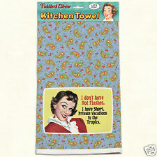 Fiddlers Elbow Lint Free Kitchen Cotton Towel Womens Hot Flashes Retro New